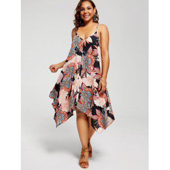 Plus Size Floral Chiffon Asymmetric Sundress - BLACK 5XL