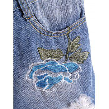 Embroidered Ripped Denim Mini Shorts - BLUE BLUE