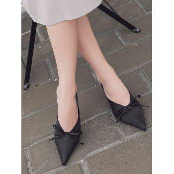 Bow Satin Pointed Toe Slippers - BLACK BLACK