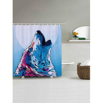 Wolf Howl Print Fabric Bathroom Shower Curtain - COLORMIX COLORMIX