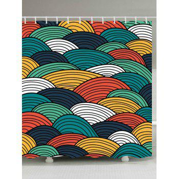 Striped Sector Printed Waterproof Shower Curtain - COLORFUL COLORFUL