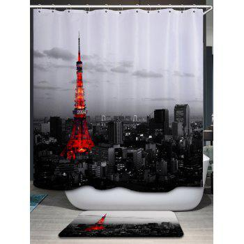Effiel Tower Print Fabric Bathroom Shower Curtain - COLORMIX COLORMIX