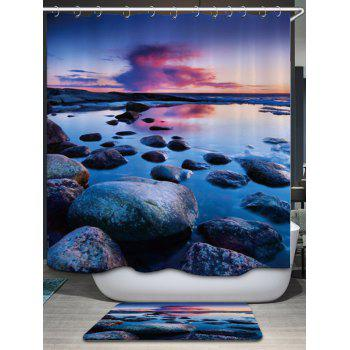 Sunset Stone Pattern Fabric Bathroom Shower Curtain - COLORMIX COLORMIX