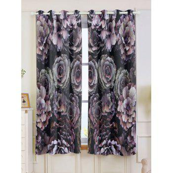 2PCs Floral Printed Blackout Window Curtains - COLORFUL COLORFUL