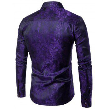 Paisley Vintage Long Sleeve Shirt - PURPLE XL