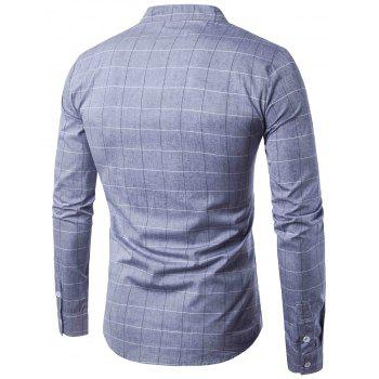 PU Leather Applique Long Sleeve Checked Shirt - GRAY M