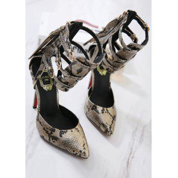 Buckle Straps Snake Print Pumps - GOLDEN 40