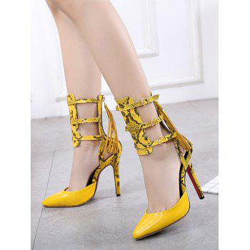 Buckle Straps Snake Print Pumps - YELLOW 38