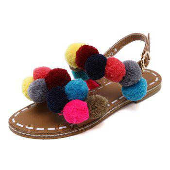 Buckle Strap Colorful Pom Pom Sandals - BROWN 41