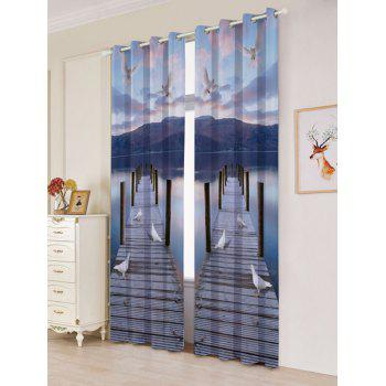 2 Panel Lake Scenic Grommet Blackout Window Curtain - BLUE GRAY W53 INCH * L84.5 INCH