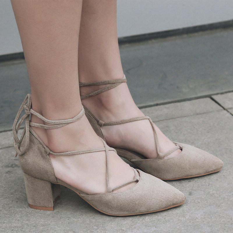 Chunky Heel Lace Up Suede Pumps - APRICOT 39