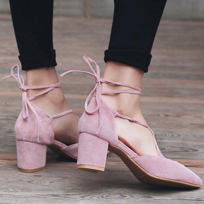 Chunky Heel Lace Up Suede Pumps - PINK 40
