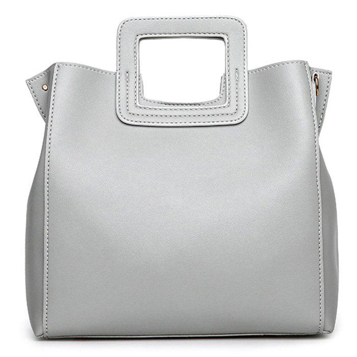 Square Handle Faux Leather Tote Bag - LIGHT GRAY