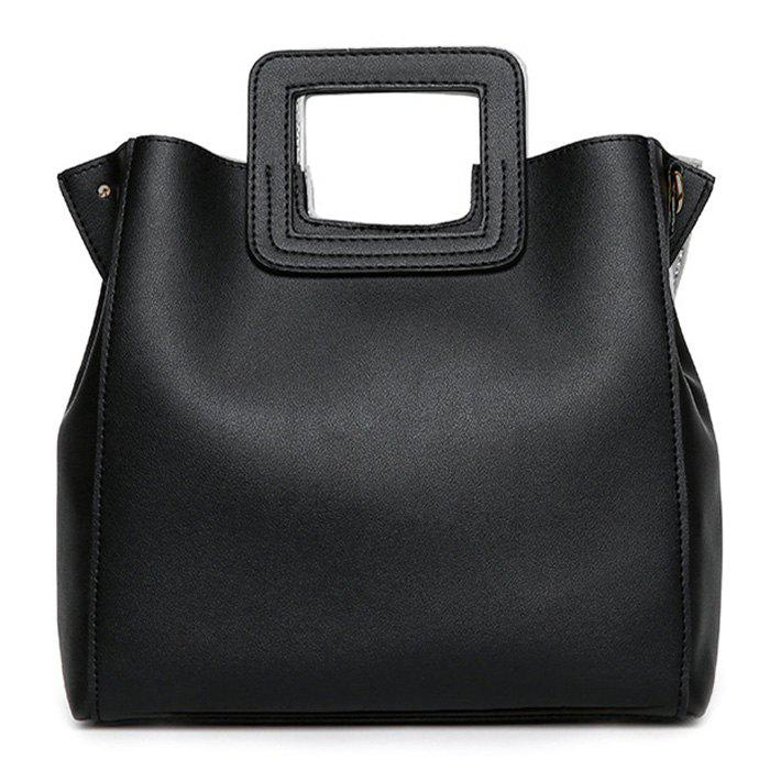 Square Handle Faux Leather Tote Bag - BLACK
