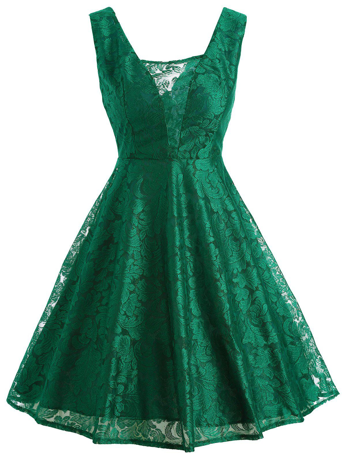 Retro Sleeveless Lace Fit and Flare Dress lace overlay fit and flare dress