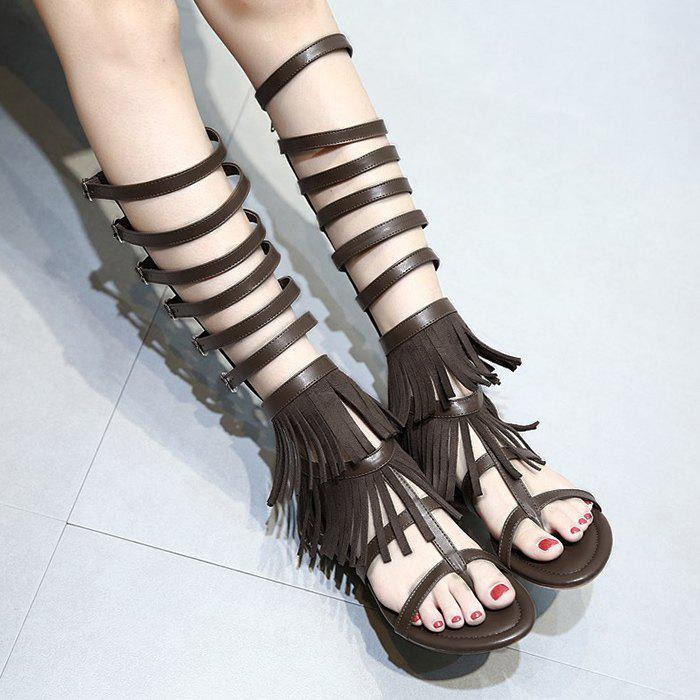 Fringe Buckle Straps Flat Sandals - DEEP BROWN 38