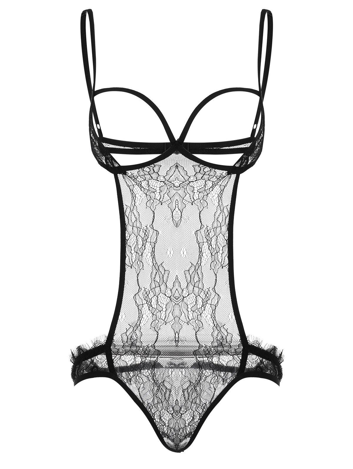 Cut Out Lace Sheer Teddy - BLACK XL