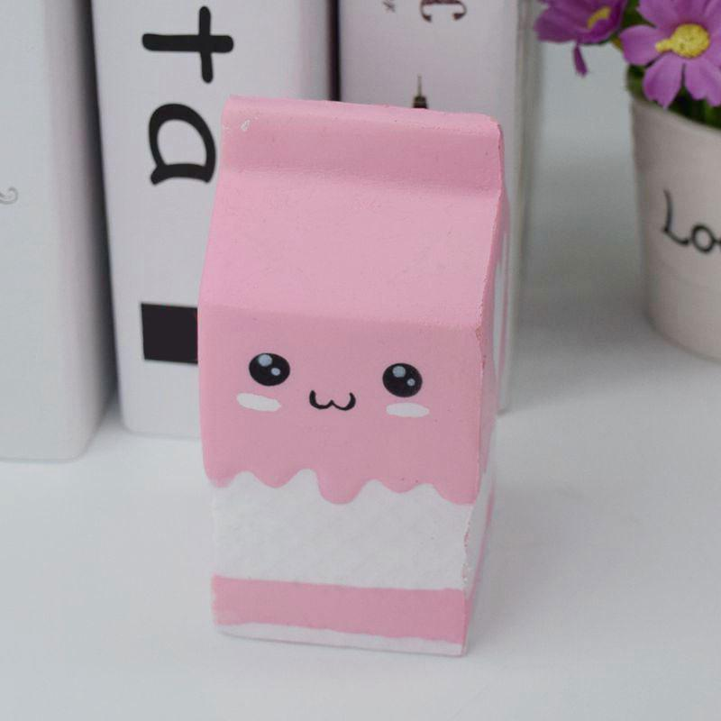 PU Stress Relief Squishy Toy Simulation Milk Box - ROSE PÂLE