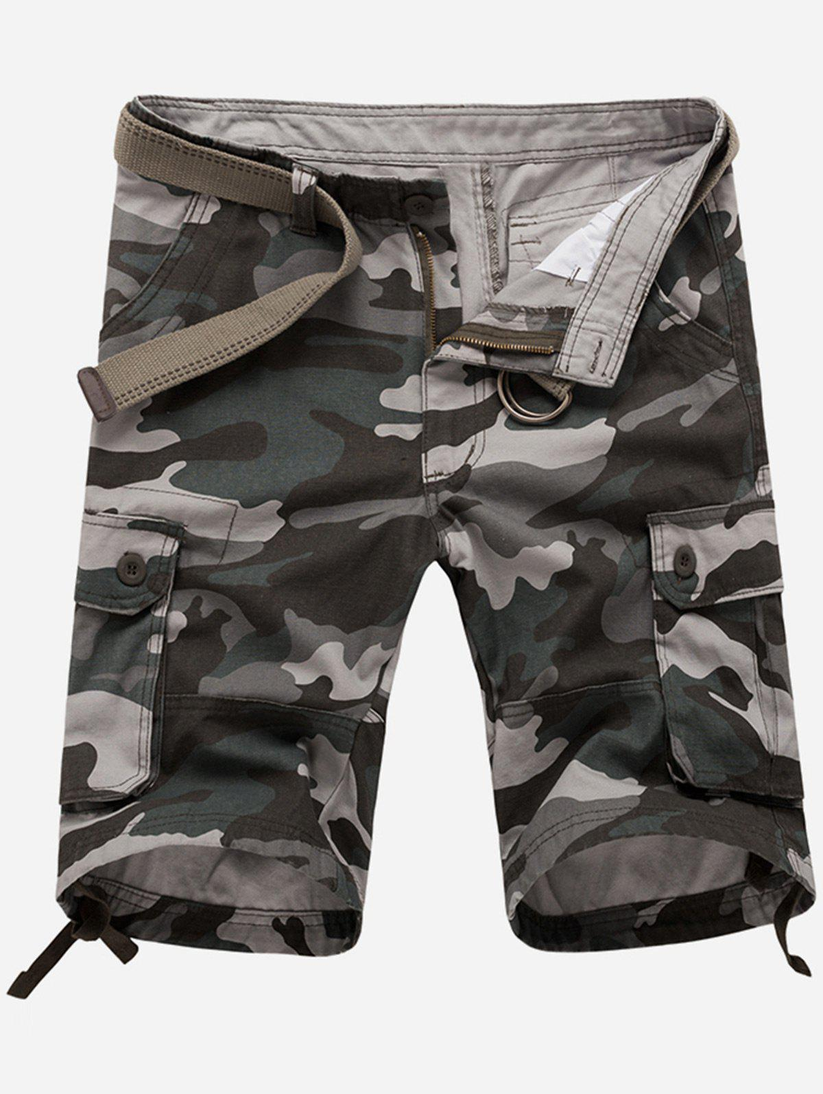 Zipper Fly Pockets Camouflage Cargo Shorts - GRAY 32