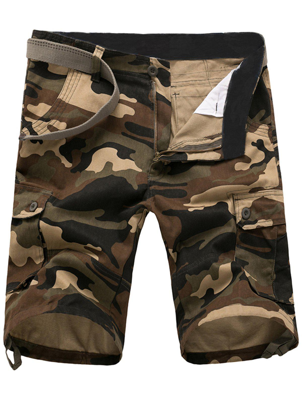 Zipper Fly Poches Camouflage Cargo Shorts - Kaki 36