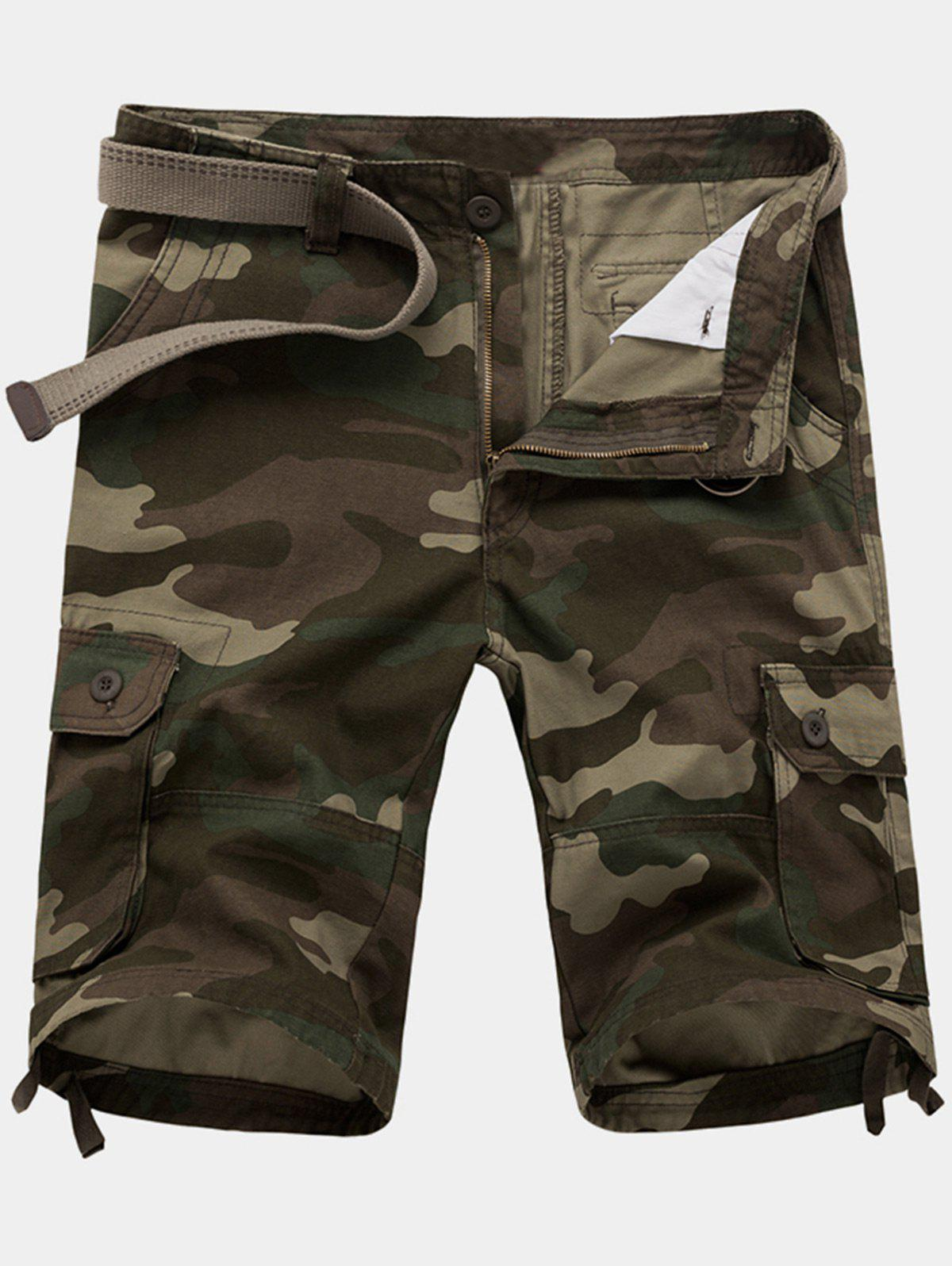 Zipper Fly Poches Camouflage Cargo Shorts - Vert Armée 32