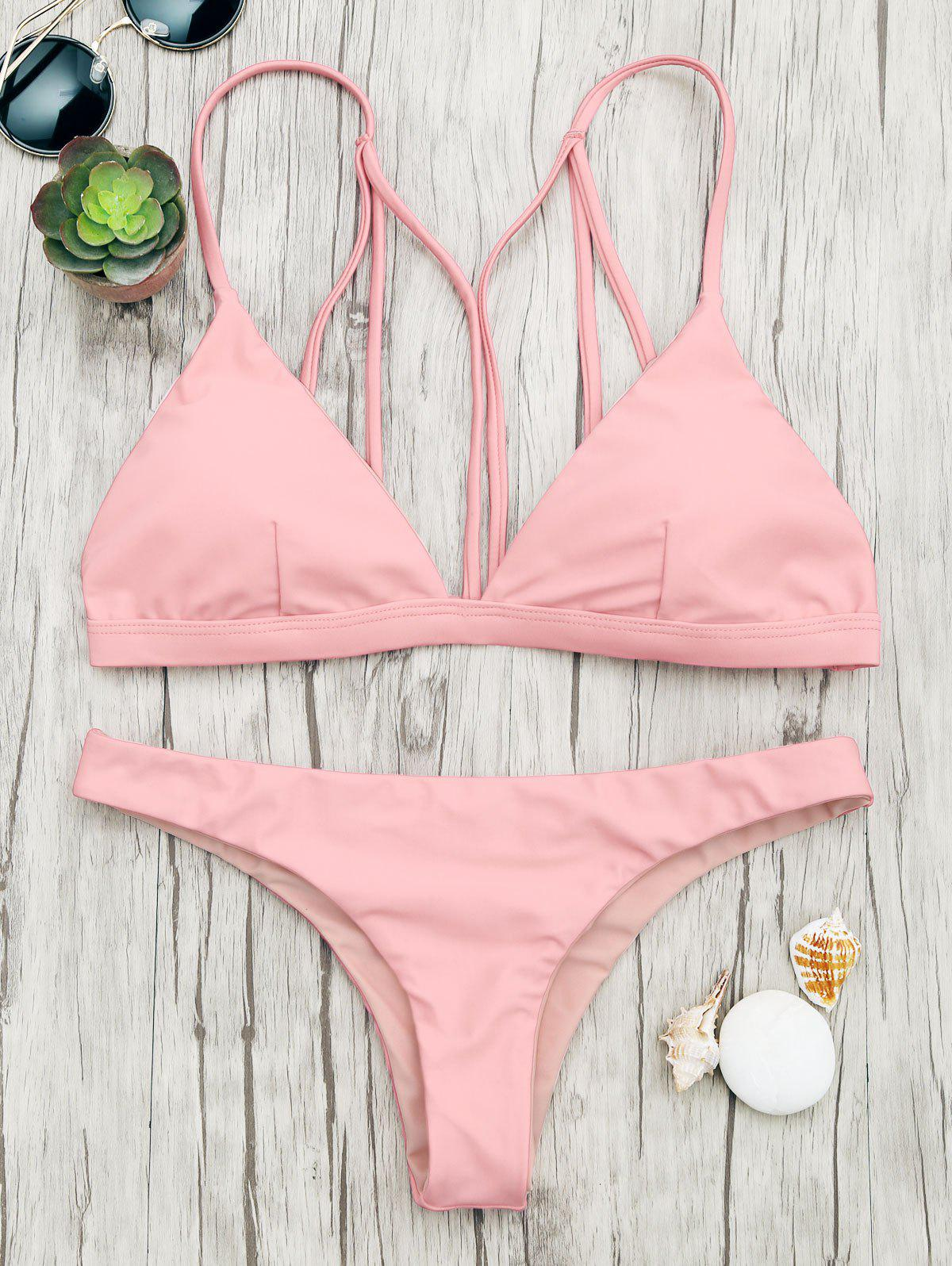 Back Strappy Padded Bathing Suit - SHALLOW PINK S