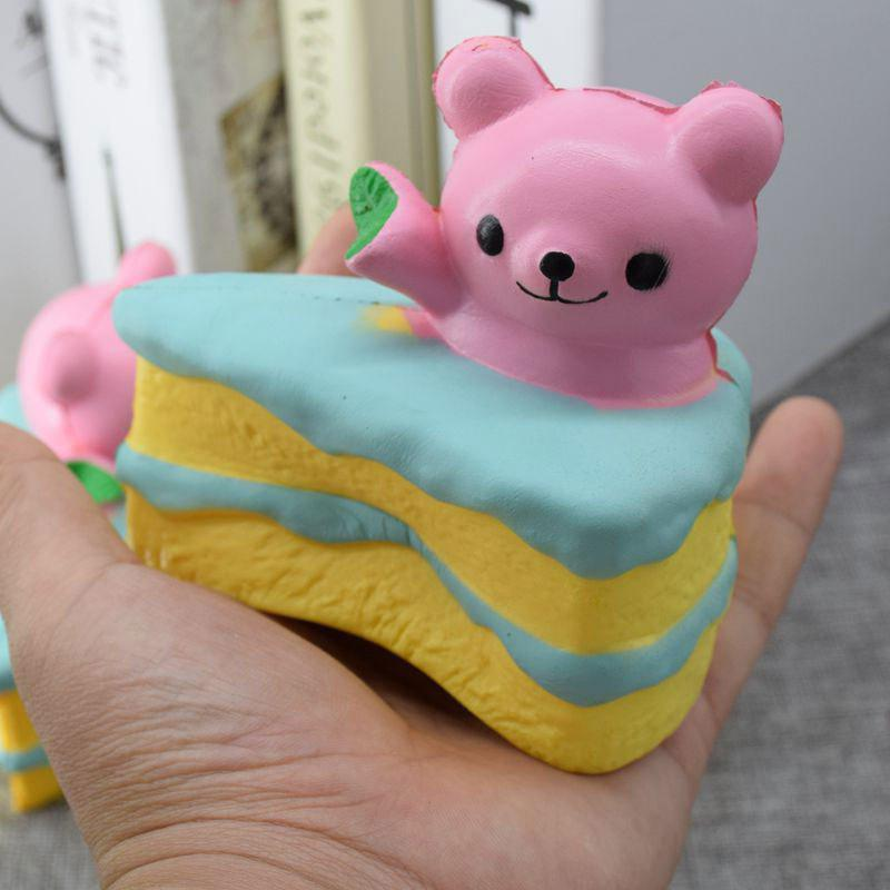 PU Slow Rebound Squishy Food Simulation Cake Bear - PINK