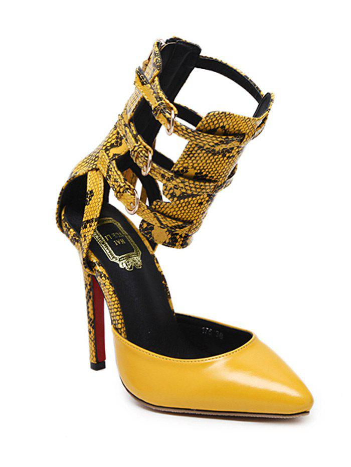 Buckle Straps Snake Print Pumps