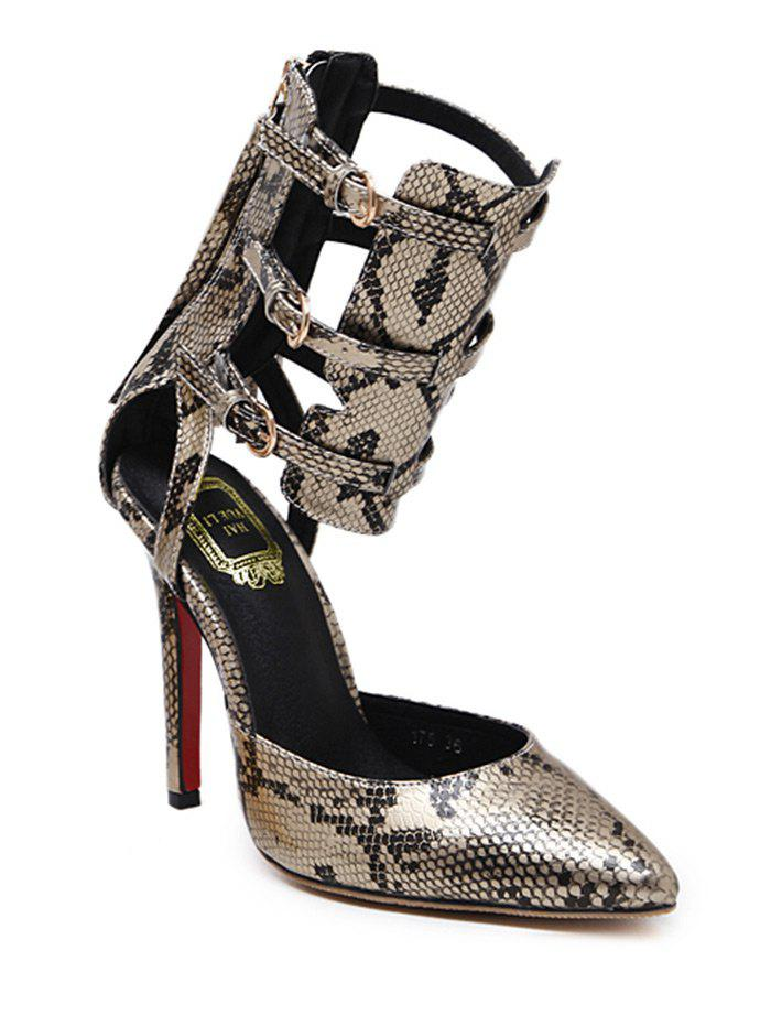 Buckle Straps Snake Print Pumps - GOLDEN 38