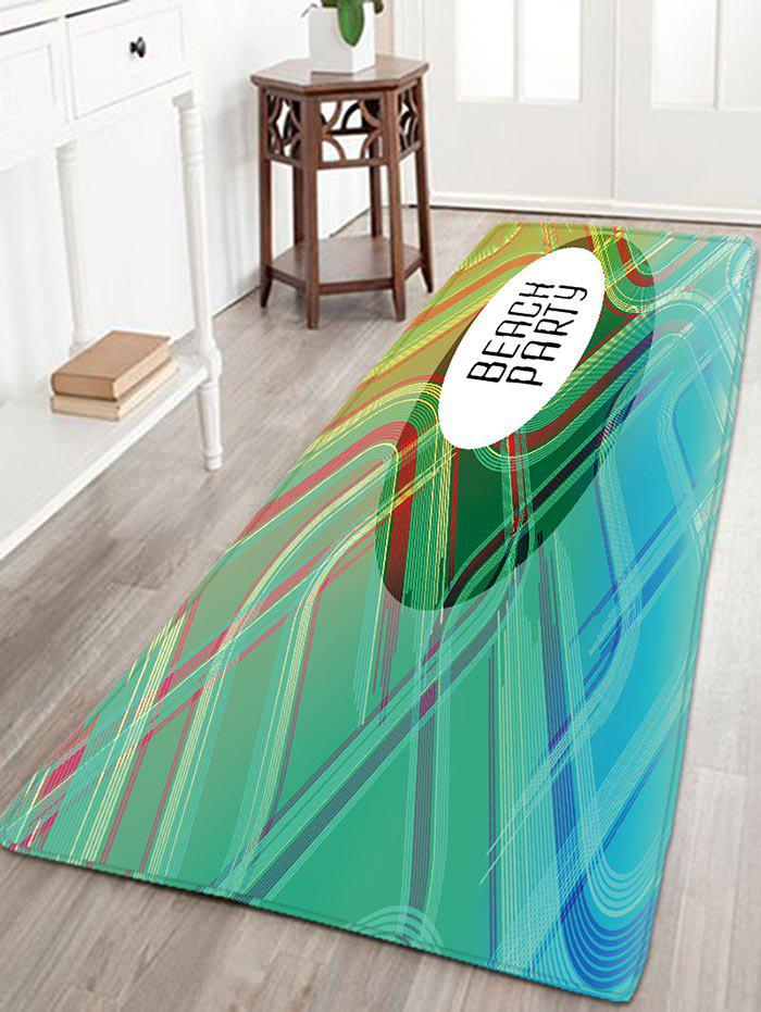 BEACH PARTY Print Tapis antidérapant rayé à flanelle - Vert W16 INCH * L47 INCH