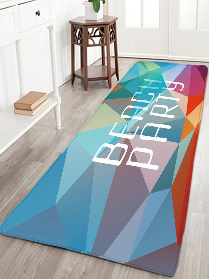 BEACH PARTY Print Flannel Antiskid Rug - Géométrie Colorée W16 INCH * L47 INCH