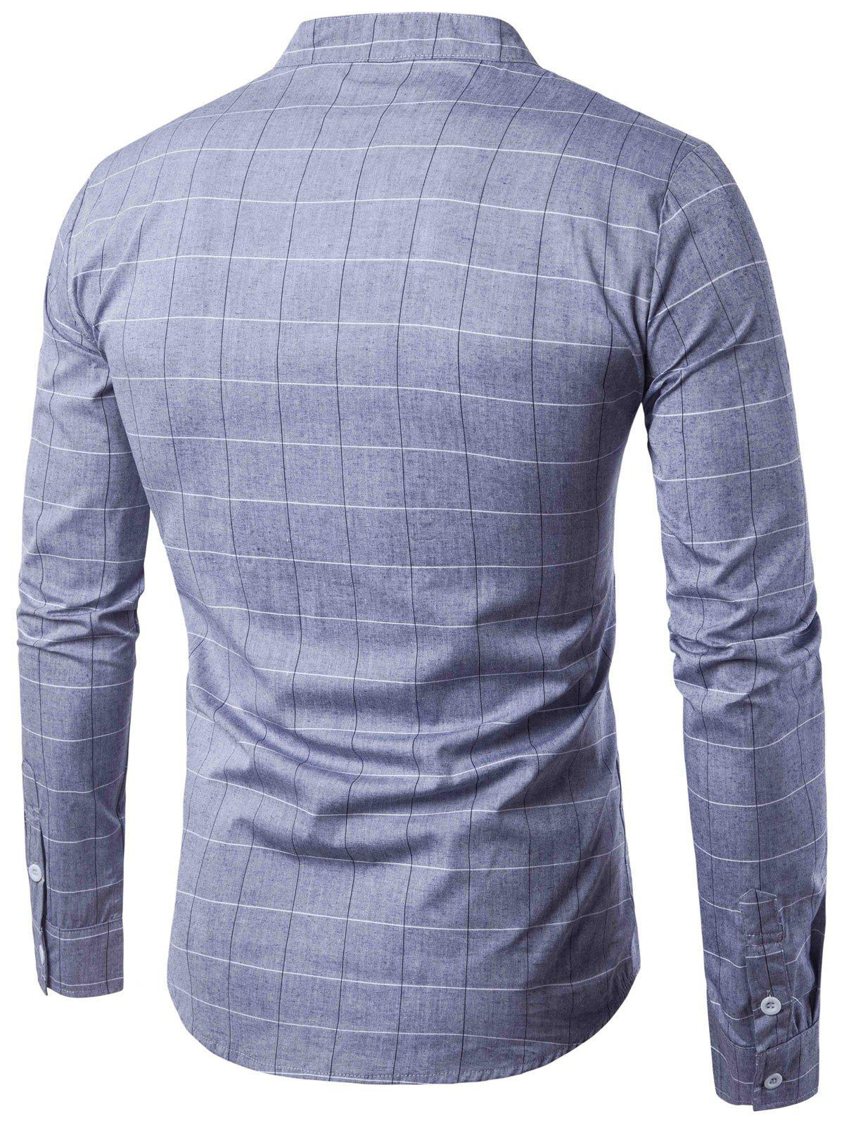 2018 pu leather applique long sleeve checked shirt gray l for Applique shirts for sale