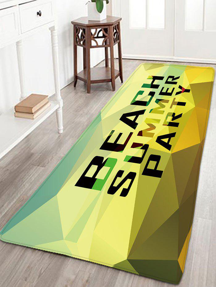 BEACH SUMMER PARTY Print Flanel Antislip Rug - Jaune W16 INCH * L47 INCH