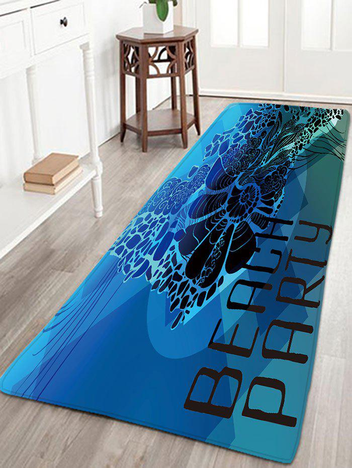 Flanelle Antiskid BEACH PARTY Letter Print Rug - Bleu W16 INCH * L47 INCH