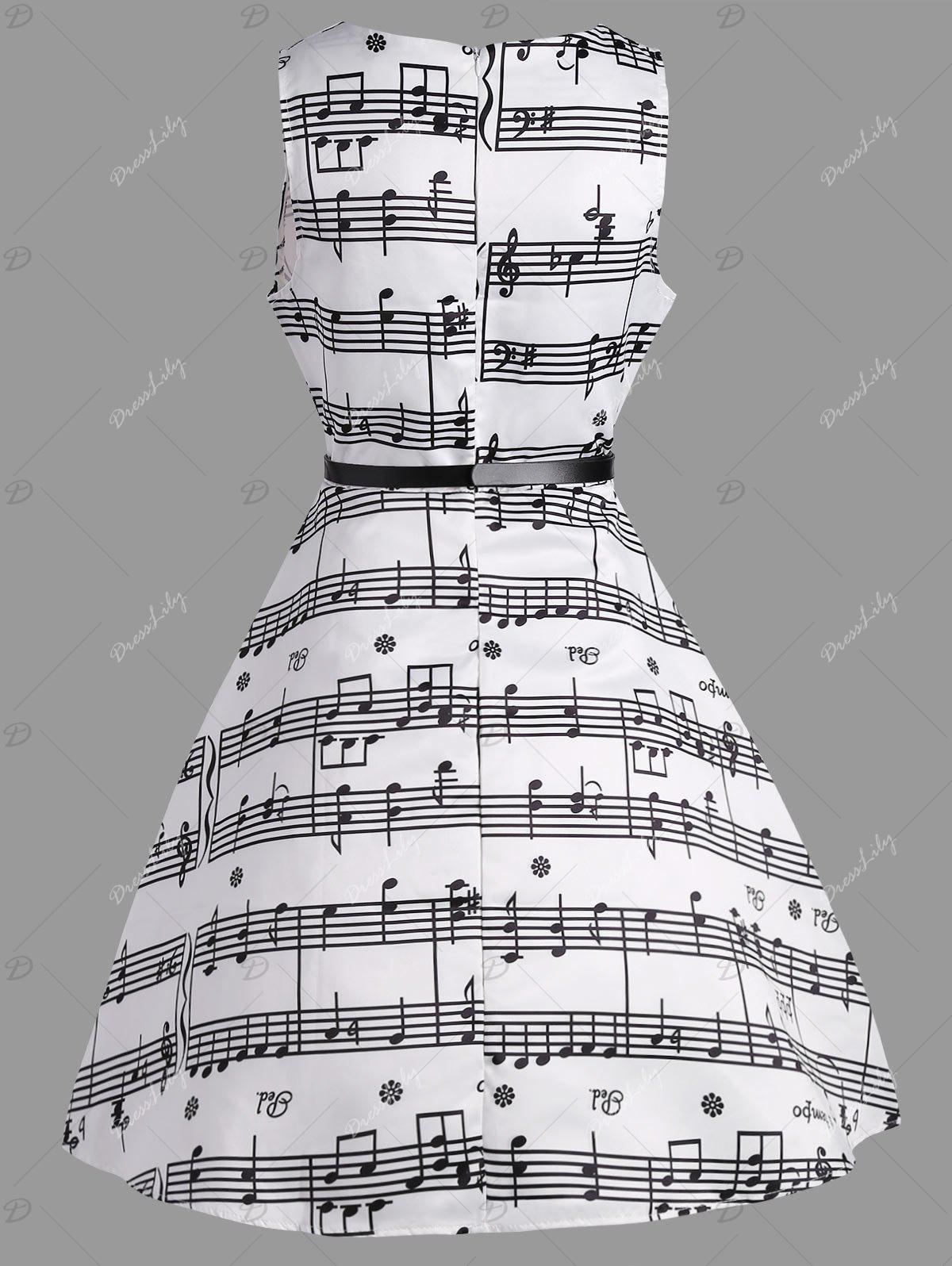 Music Note Print Swing Party Dress - WHITE M