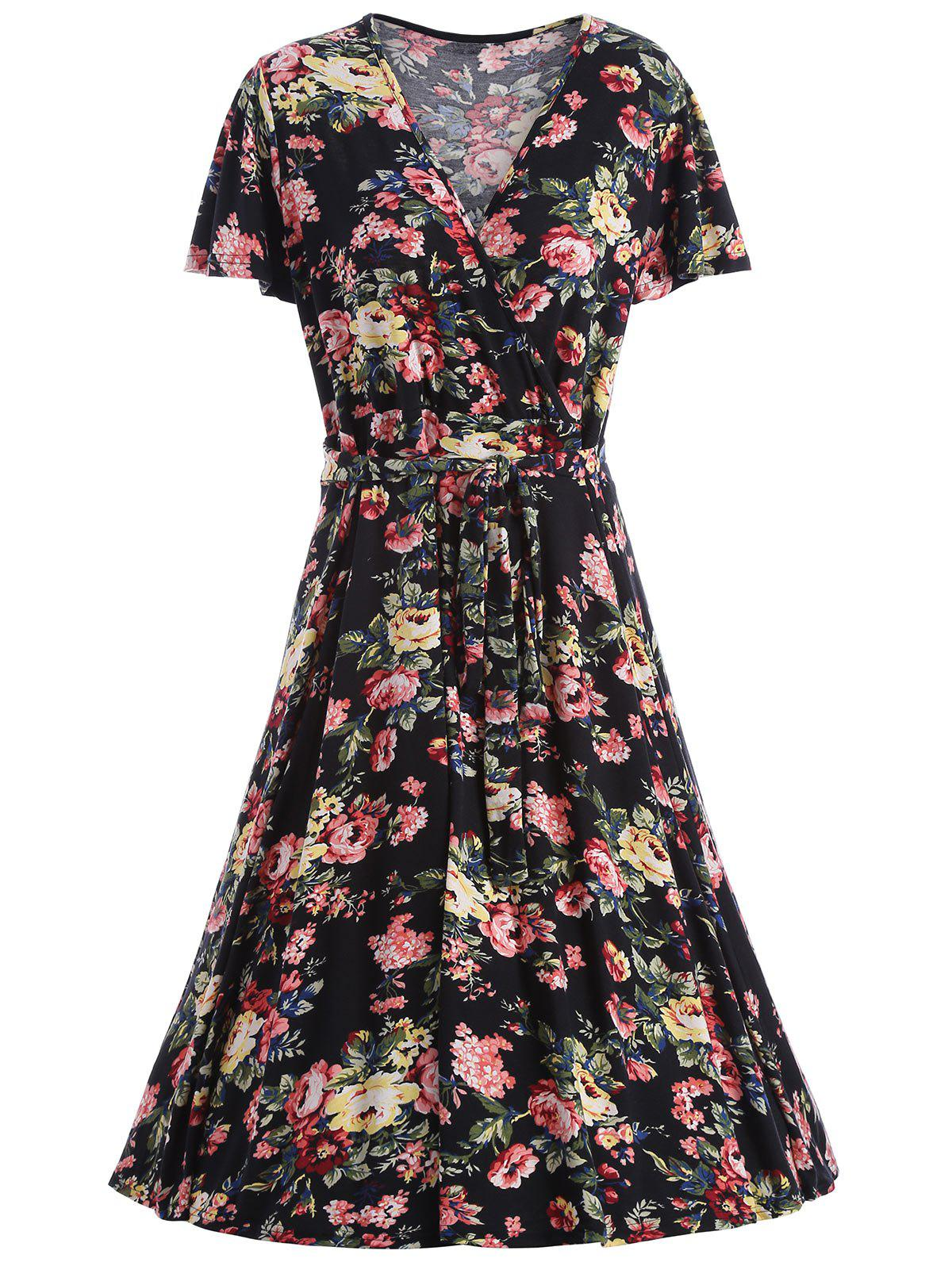 Floral V Neck Plus Robe Homecoming - Noir 8XL