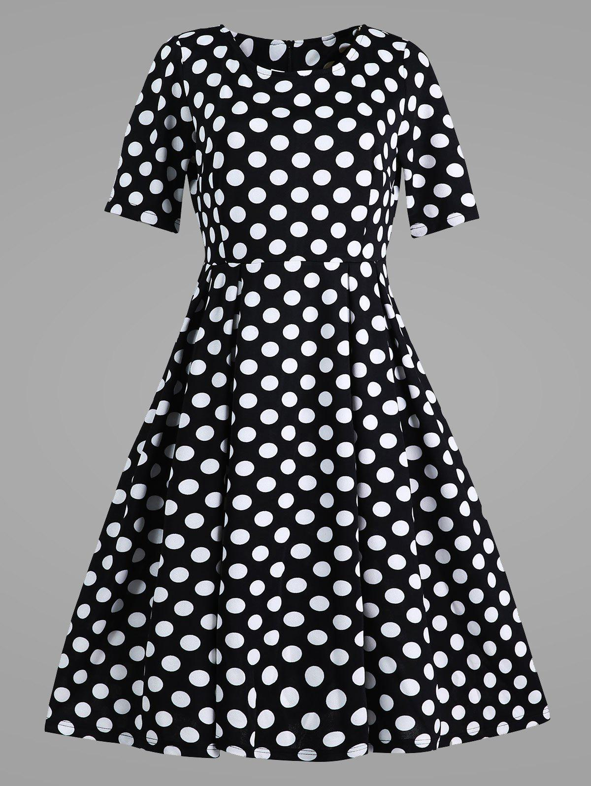 Plus Size Polka Dot Vintage Dress with Pockets - BLACK 5XL