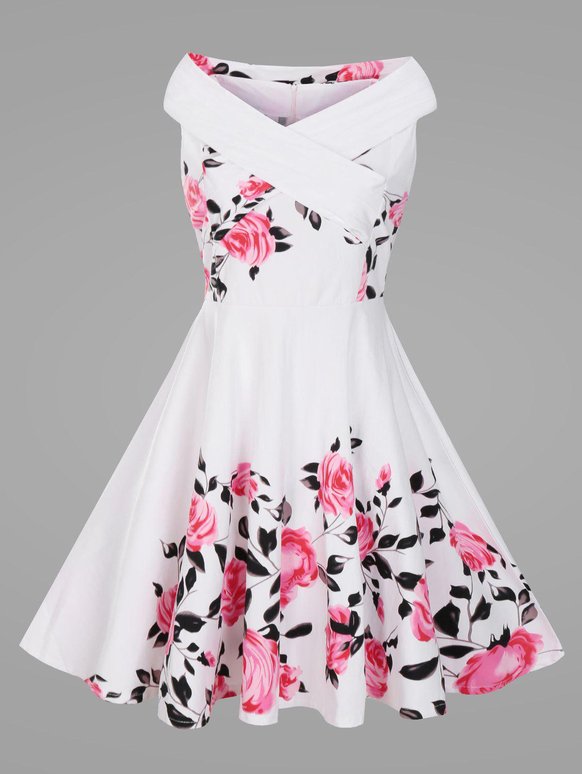 Criss Cross Plus Size Floral Retro Pin Up Dress criss cross plus size floral retro pin up dress
