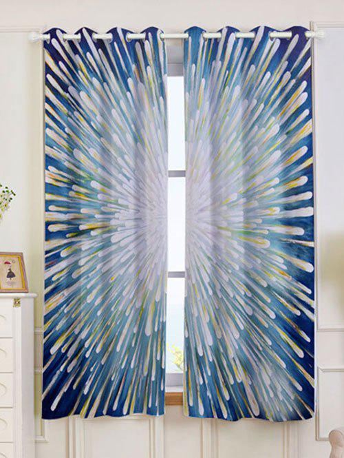 2 Panels Firework Printed Blackout Window Curtains - COLORFUL W53 INCH * L63 INCH