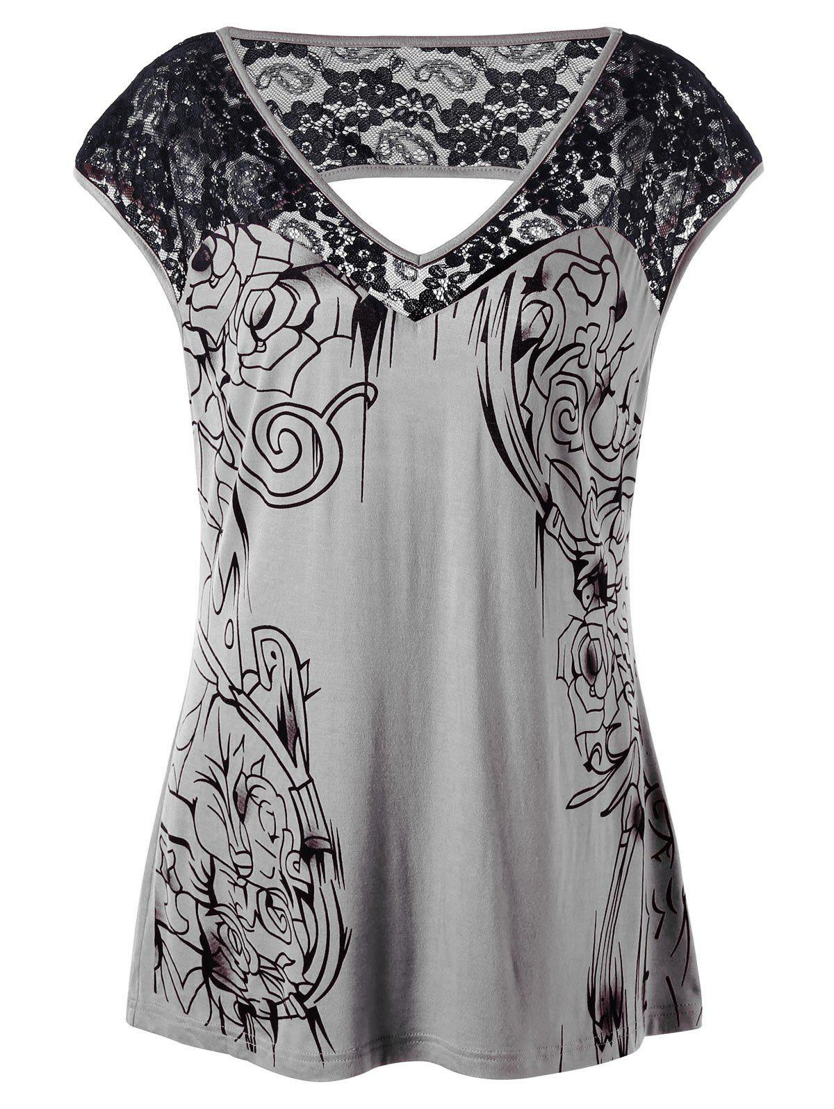 Plus Size Lace Insert Open Back T-shirt black sequins embellished open back lace up top