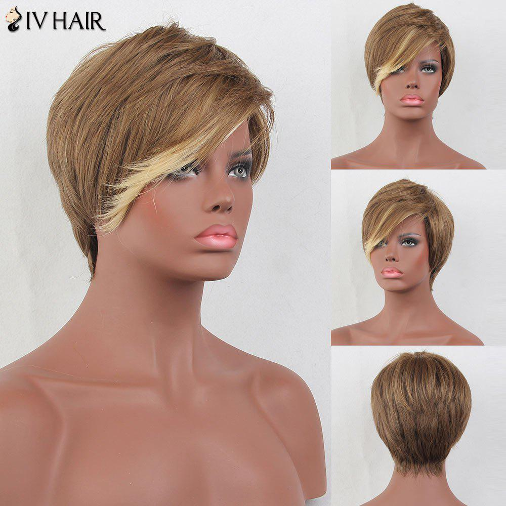 Siv Hair Short Side Bang Colormix Layered Straight Human Hair Wig - multicolorcolore