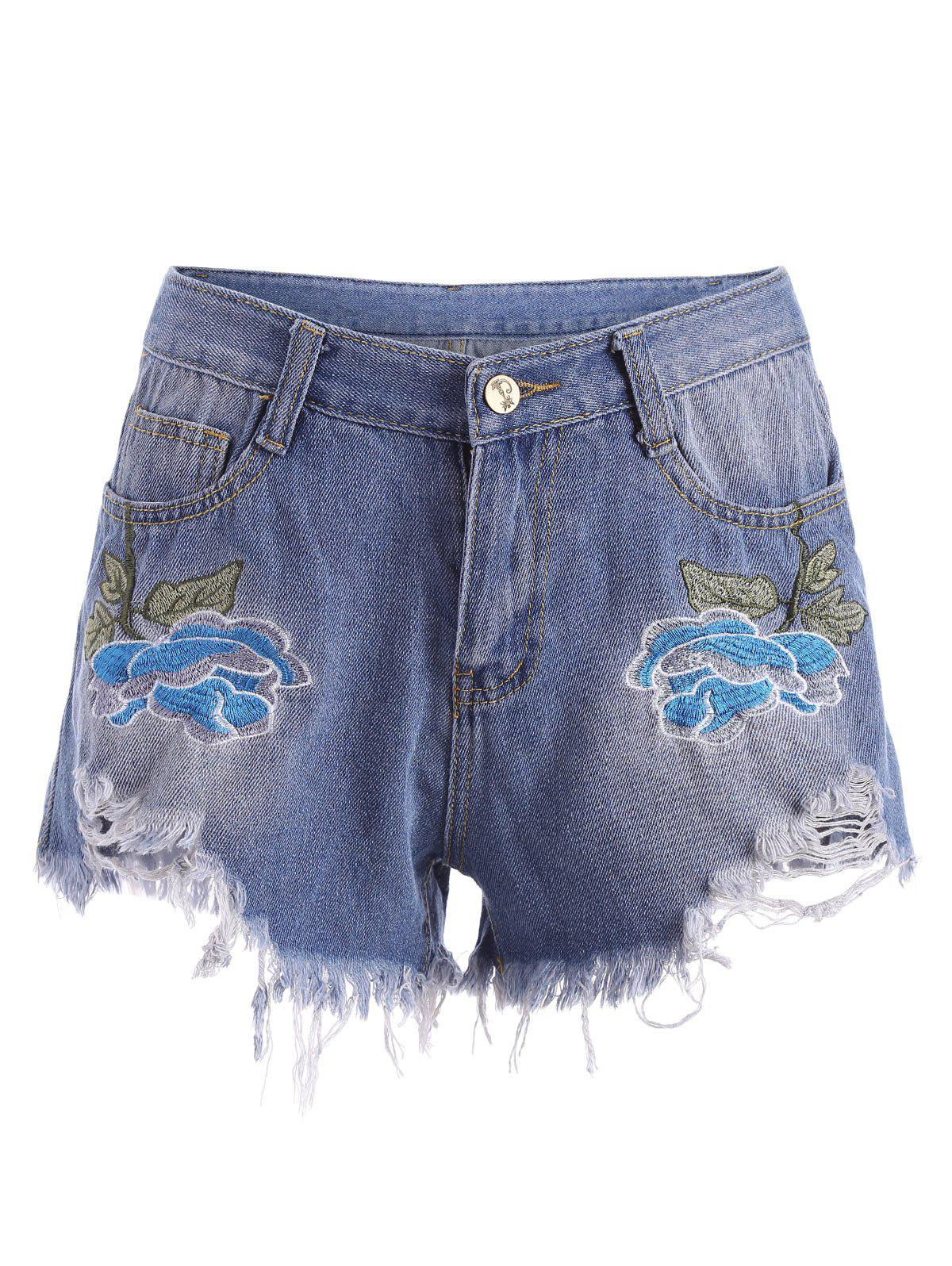 Embroidered Ripped Denim Mini Shorts - BLUE M