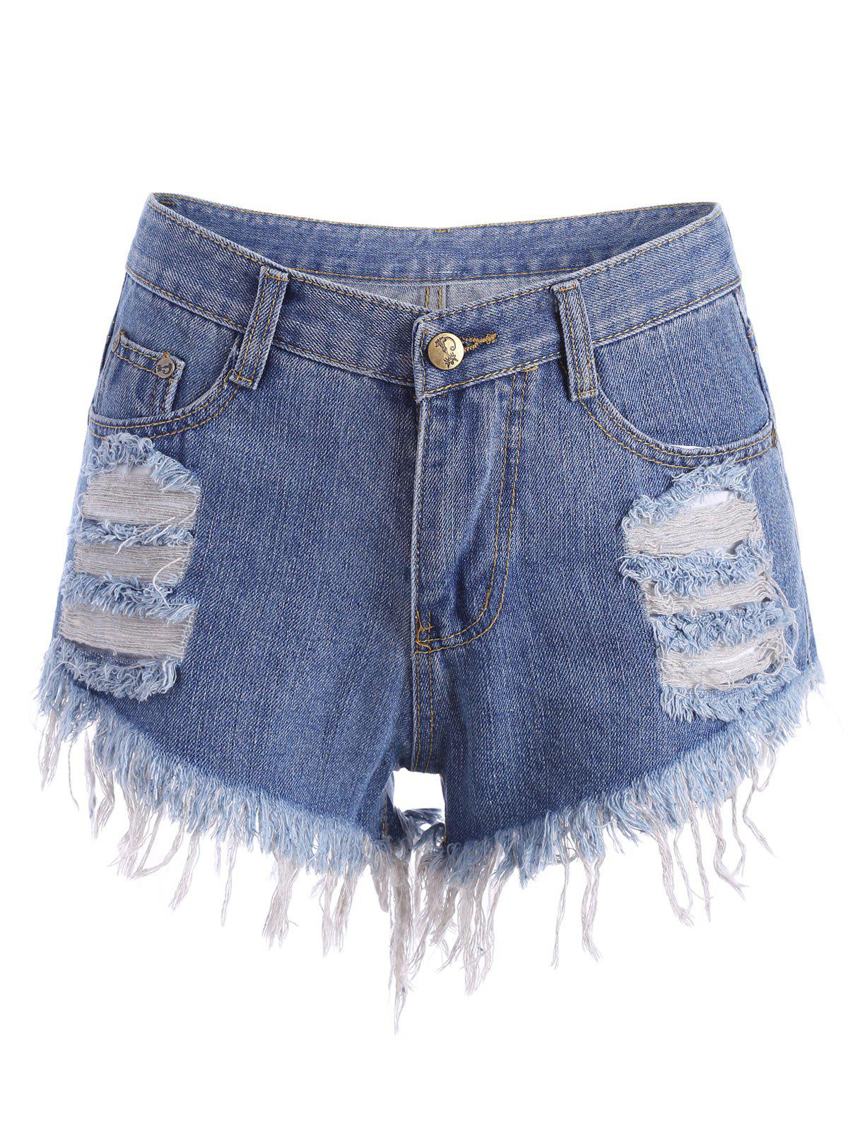 Ripped Denim Cutoffs Shorts - BLUE S
