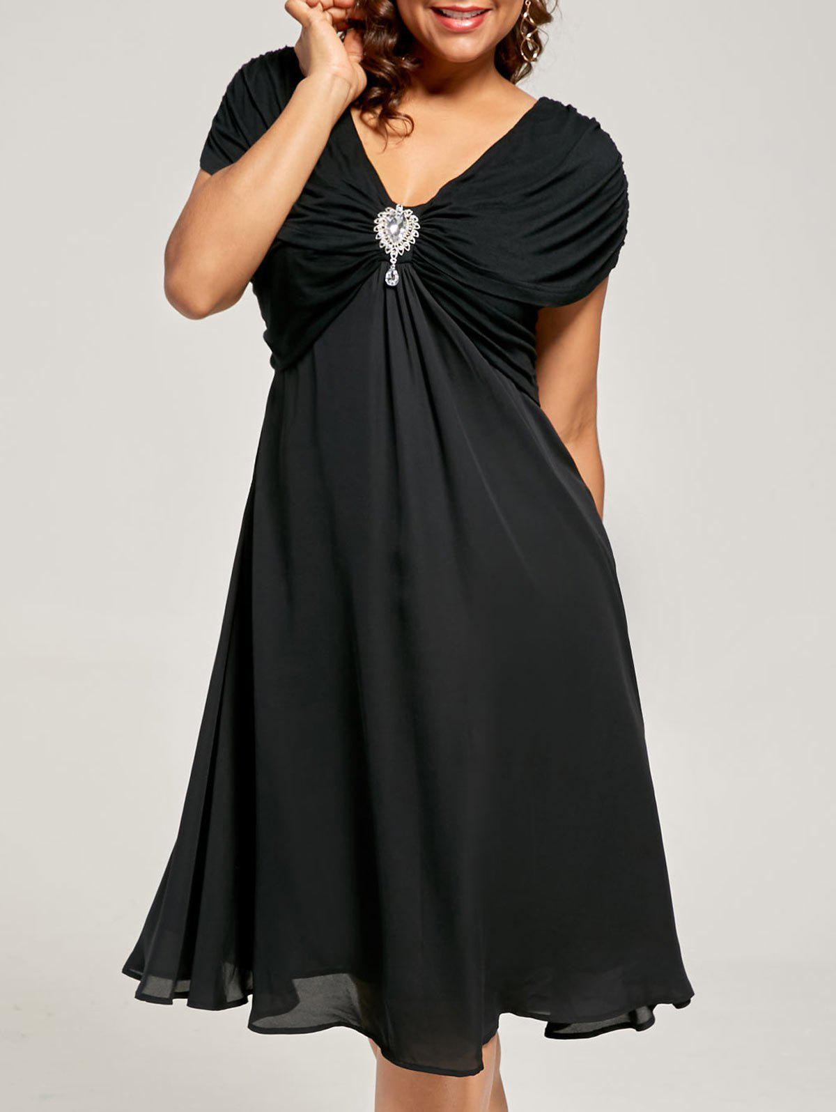 Plus Size Ruched Cap Sleeve Chiffon Dress - BLACK 3XL