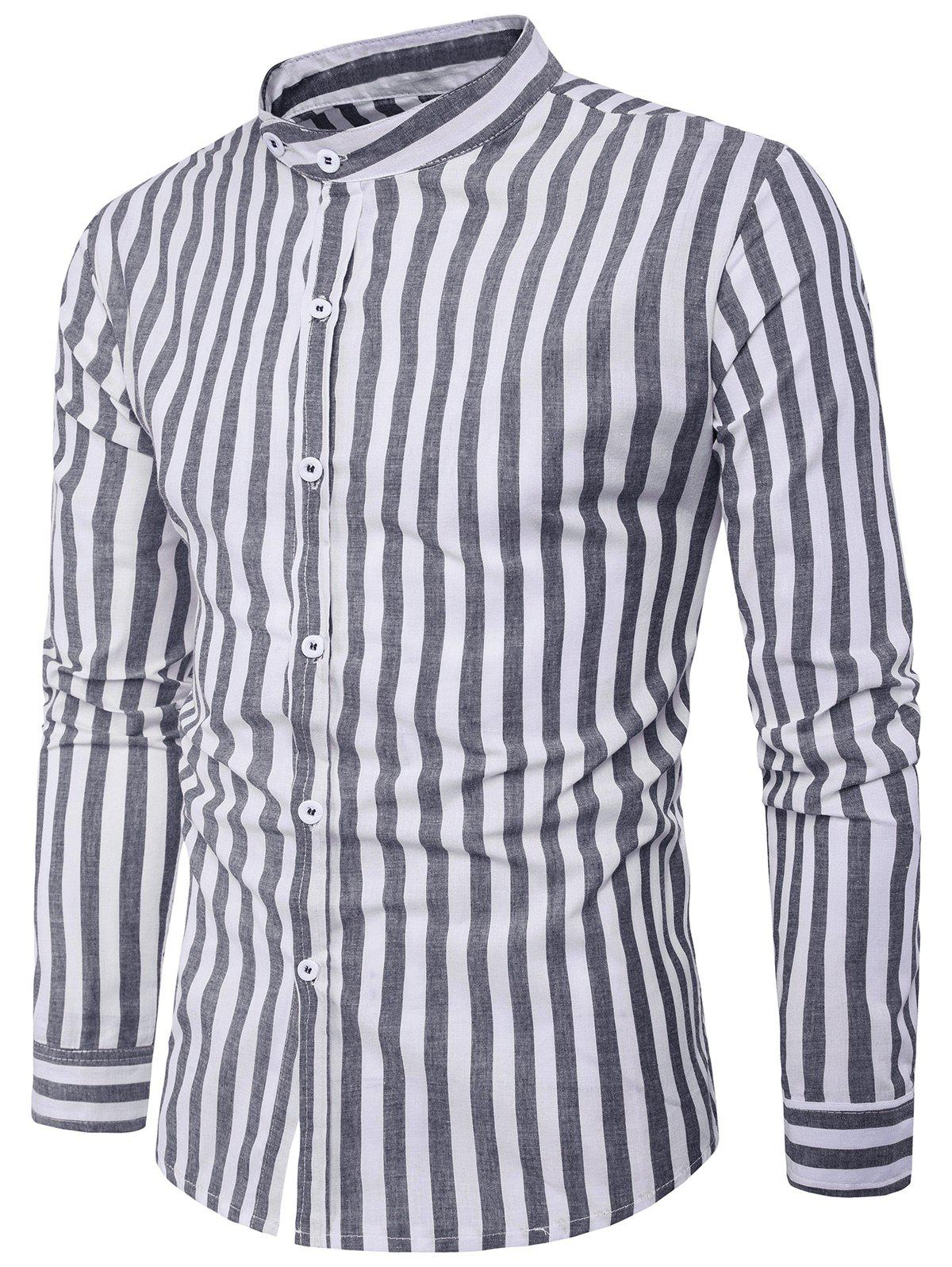 Vintage Vertical Stripe Long Sleeve Shirt дневные ходовые огни 0 5 2 9 drl 14 16 100% waterproof easy