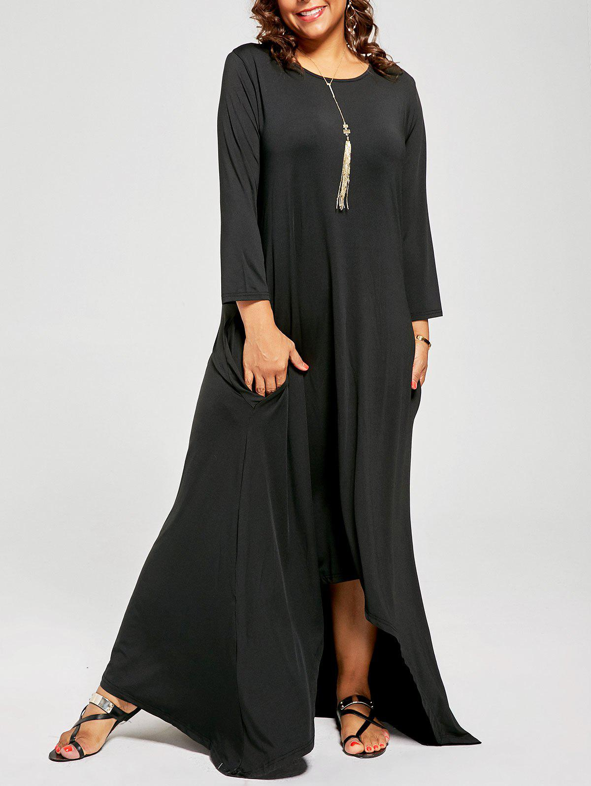2018 Plus Size High Low Maxi T-shirt Dress with Long ...