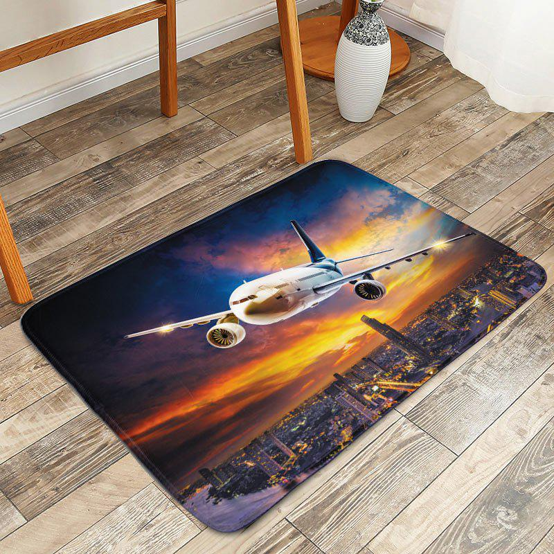 Plane Rosy Clouds Water Absorption Bath Rug - multicolorcolore W16 INCH * L24 INCH