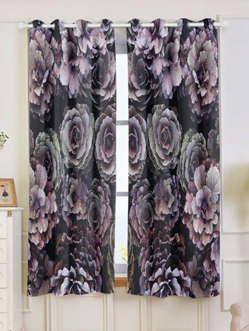 2PCs Floral Printed Blackout Window Curtains - COLORFUL W53 INCH * L63 INCH