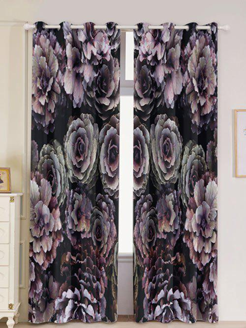 2PCs Floral Printed Blackout Window Curtains - COLORFUL W53 INCH * L84.5 INCH