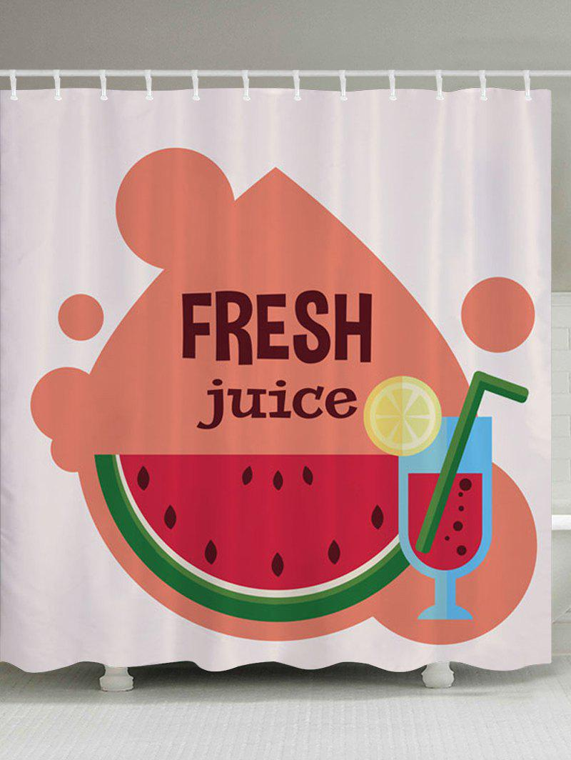 Watermelon Juice Pattern Fabric Bathroom Shower Curtain - COLORMIX W71 INCH * L71 INCH